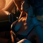 Съёмка в стиле ню Москва девушка в автомобиле Порш секси в белье